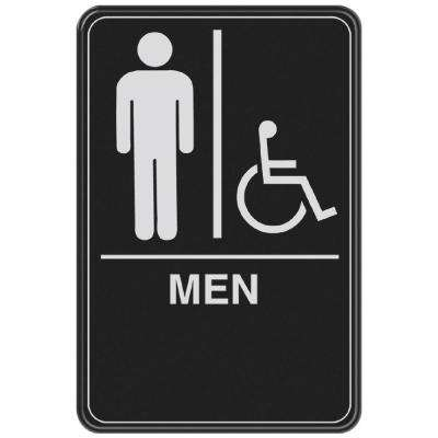 6 in. x 9 in. Men with Handicap Accessible Symbol Acrylic Restroom Sign with Braille