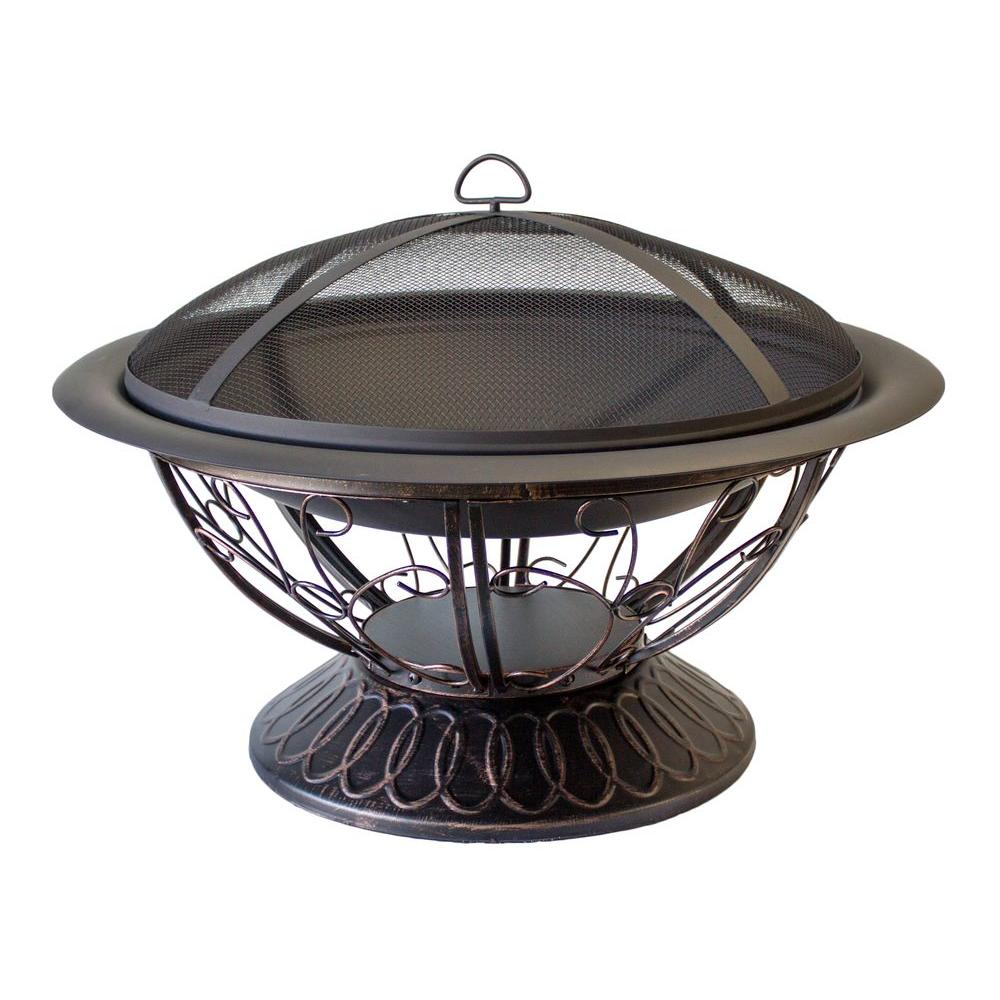 AZ Patio Heaters 30 in. Scroll Wood Burning Firepit in Black