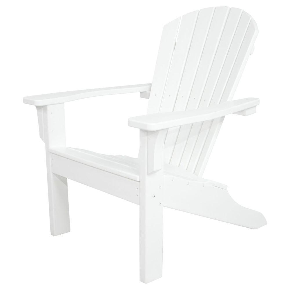 Classics White Shell Back Plastic Patio Adirondack Chair