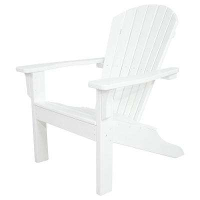 Classics White Shell Back Plastic Patio Adirondack Chair
