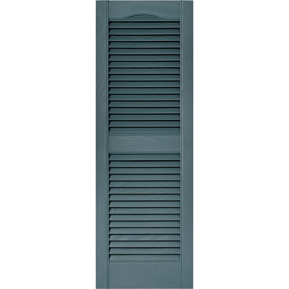 Builders Edge 15 in. x 43 in. Louvered Vinyl Exterior Shutters Pair in #004 Wedgewood Blue