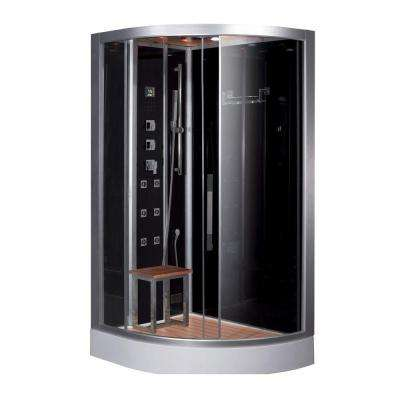 47.7 in. x 35.4 in. x 89 in. Steam Shower Enclosure Kit in Black