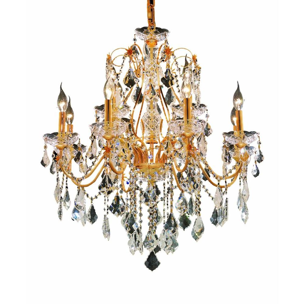 Elegant Lighting 12-Light Gold Chandelier with Clear Crystal