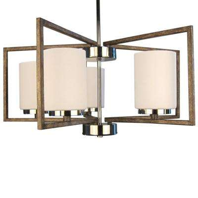 5-Light Polished Nickel and Corona Bronze Chandelier with Etched Opal Glass Shade