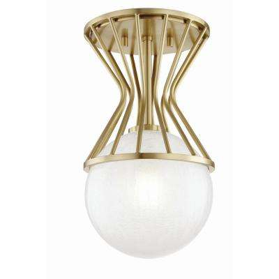 Petra 1-Light Aged Brass Semi-Flushmount with Clear Crackel Glass Shade
