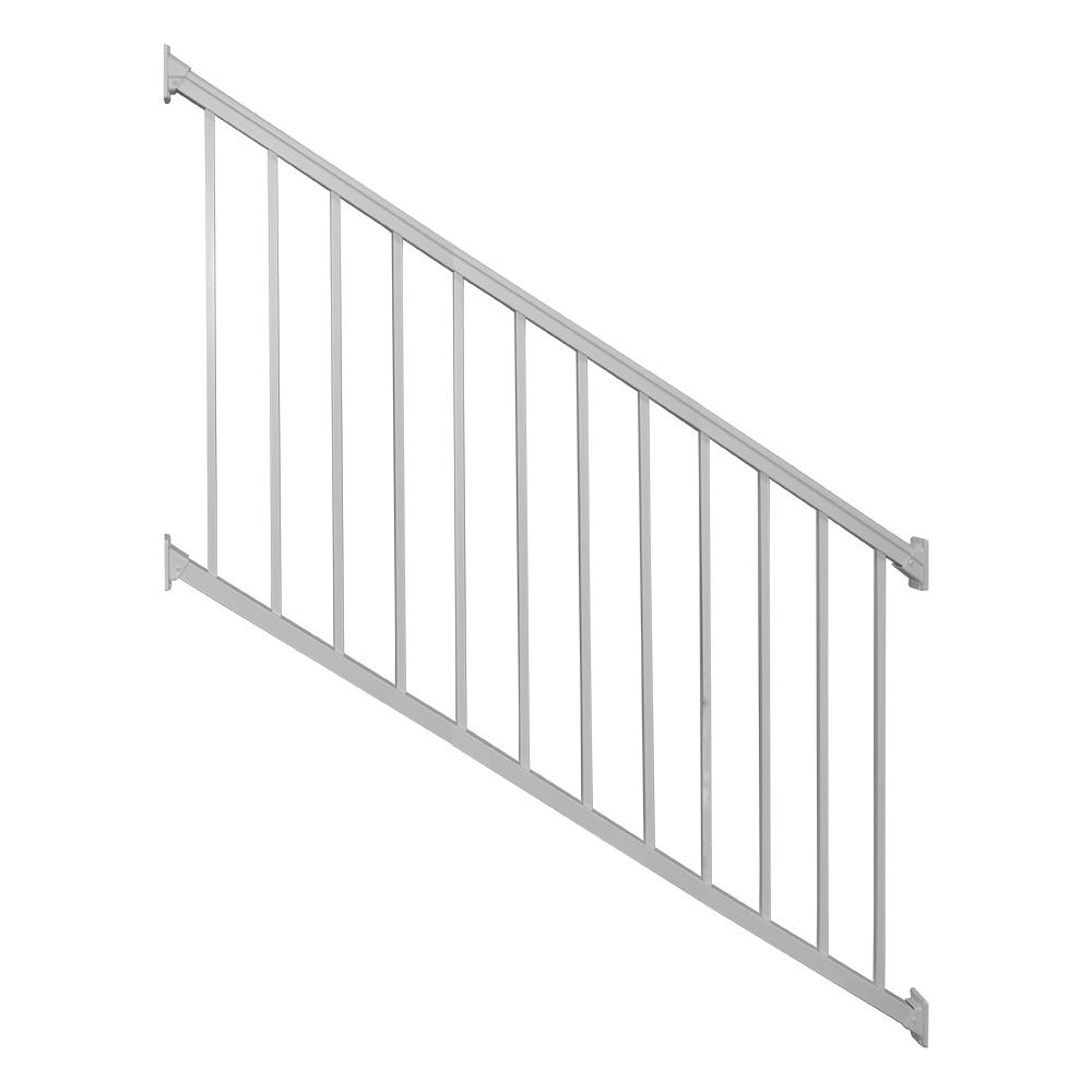 Weatherables Stanford 36 in. H x 72 in. W Textured White Aluminum Stair Railing Kit