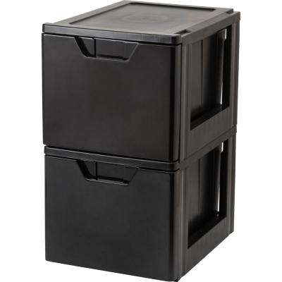 15.38 in. x 13.5 in. Black Stacking File Storage Drawer (2-Pack)