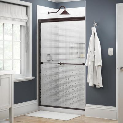 Everly 48 in. x 70 in. Traditional Semi-Frameless Sliding Shower Door in Bronze and 1/4 in. (6mm) Mozaic Glass