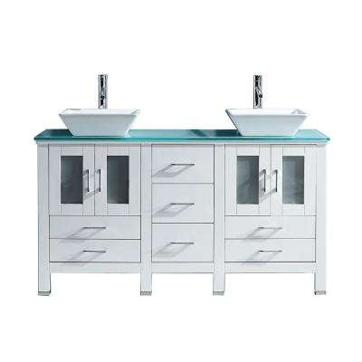 Bradford 60 in. W Bath Vanity in White with Glass Vanity Top in Aqua Tempered Glass with Square Basin and Faucet