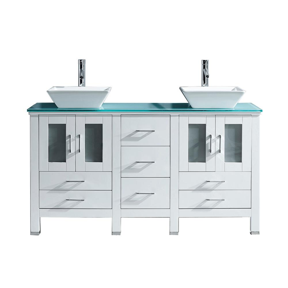 Virtu USA Bradford 60 in. W x 22 in. D Double Vanity in White with ...