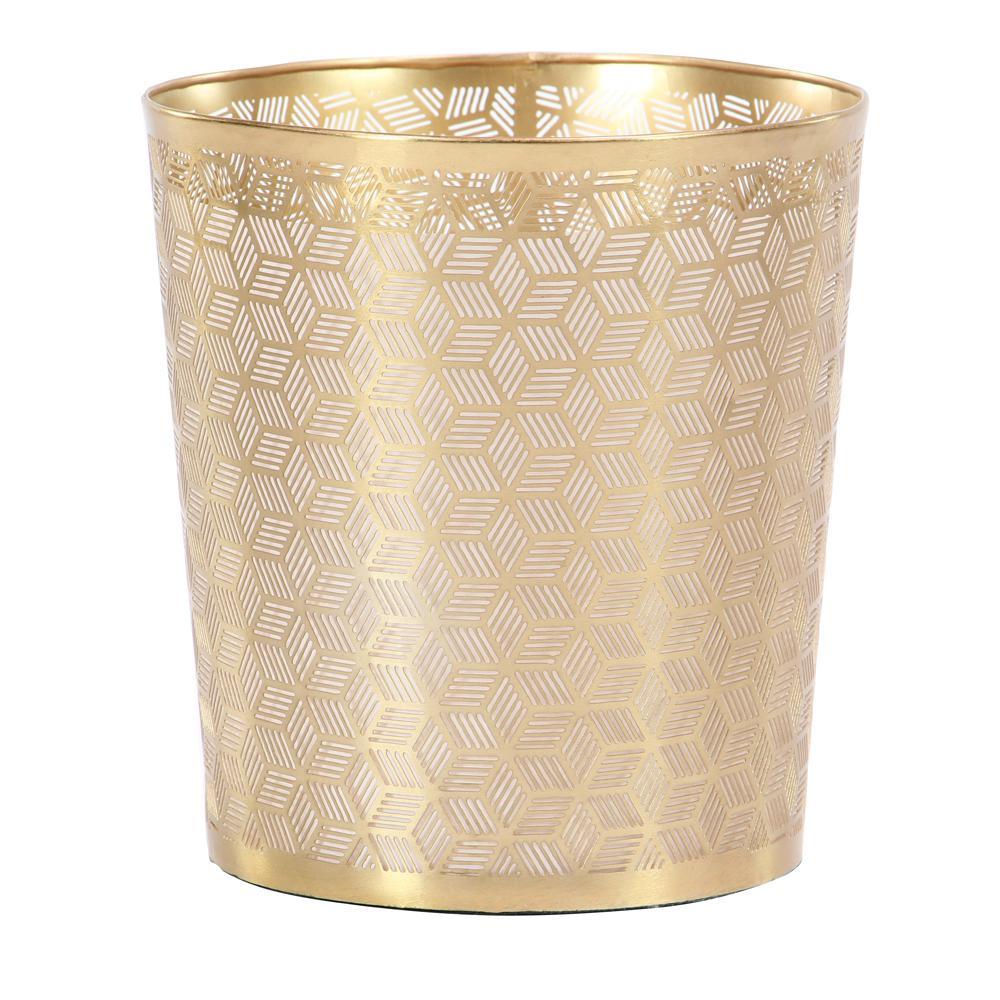 Gold Iron Geometric Lattice-Designed Round Waste Can