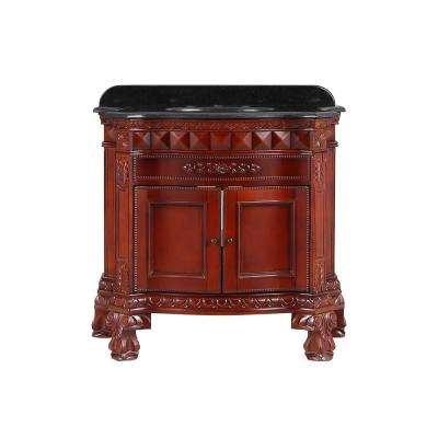 Buckingham 36 in. Vanity in Dark Cherry with Granite Vanity Top in Black
