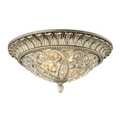 Valentino Collection 2-Light Aged Silver Flushmount