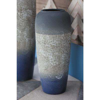 14 in. Modern Blue and Gray Ceramic Decorative Vase