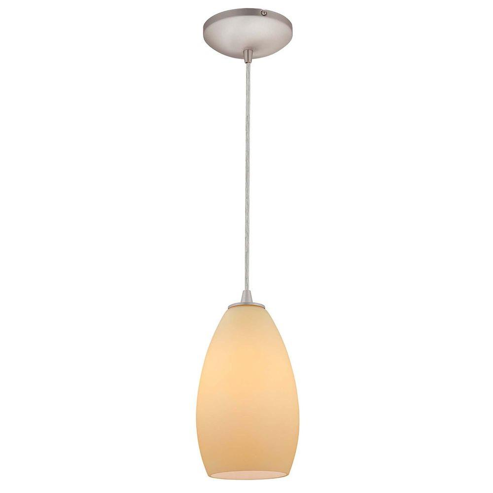 Access Lighting 1-Light Pendant Brushed Steel Finish Creme Glass-DISCONTINUED