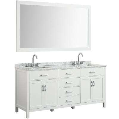 Hampton 73 in. Bath Vanity in White with Marble Vanity Top in Carrara White with White Basin and Mirror