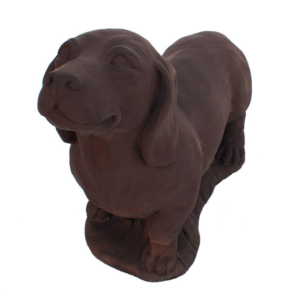 Cast Stone Dachshund Garden Statue - Dark Walnut