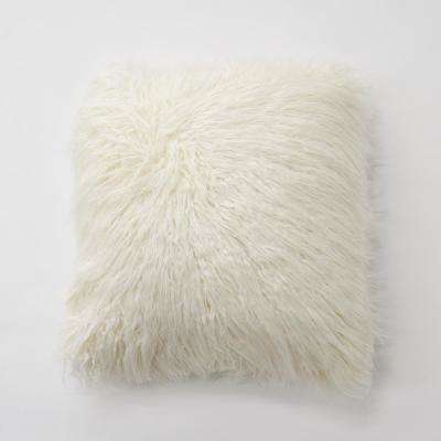 Ivory Faux Mongolian Lamb Fur Pillow