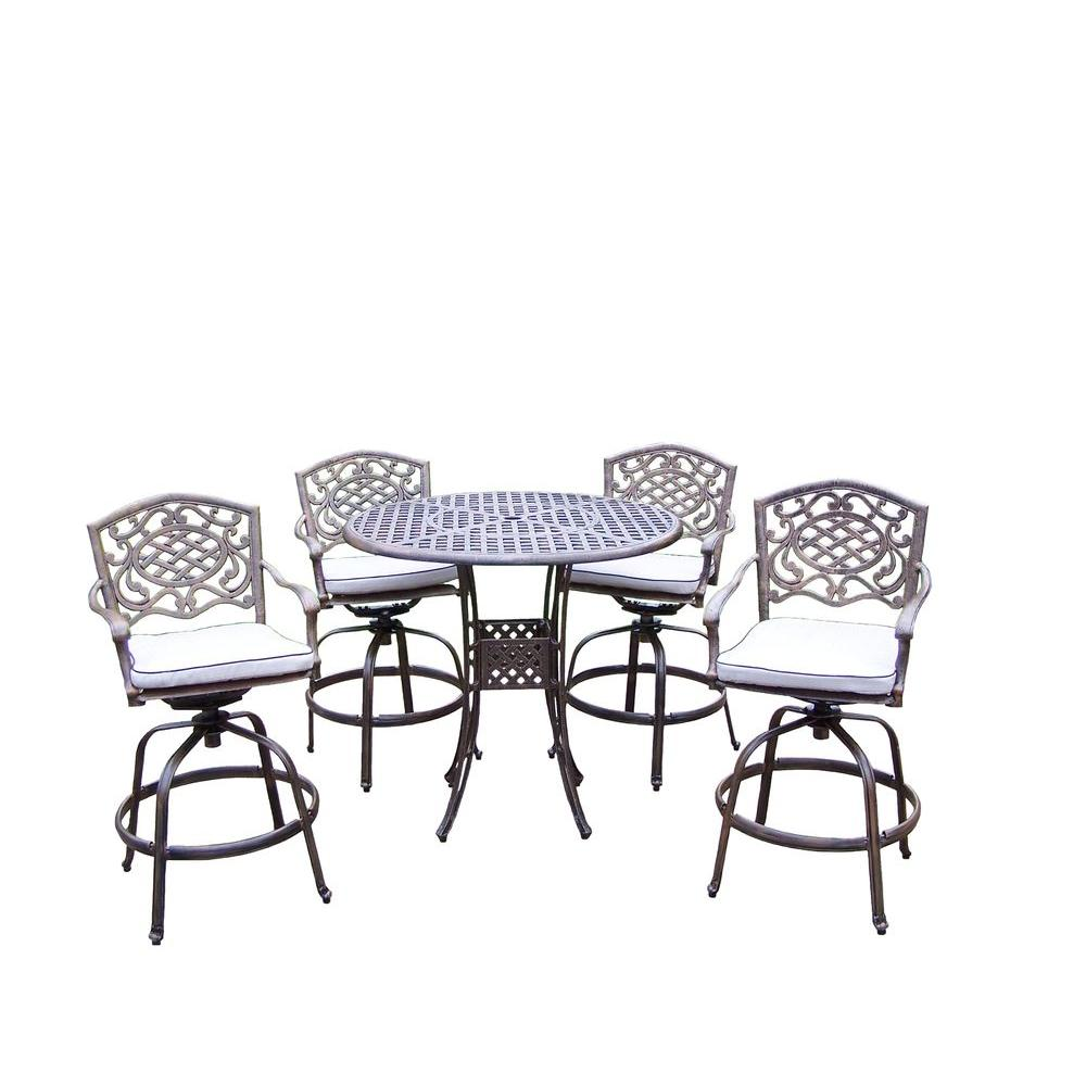 Elite Mississippi 5-Piece Swivel Patio Bar Set with Solid Cushions