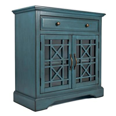Craftmen Series Blue 32 in. Wooden Accent Cabinet with Fretwork Glass Front