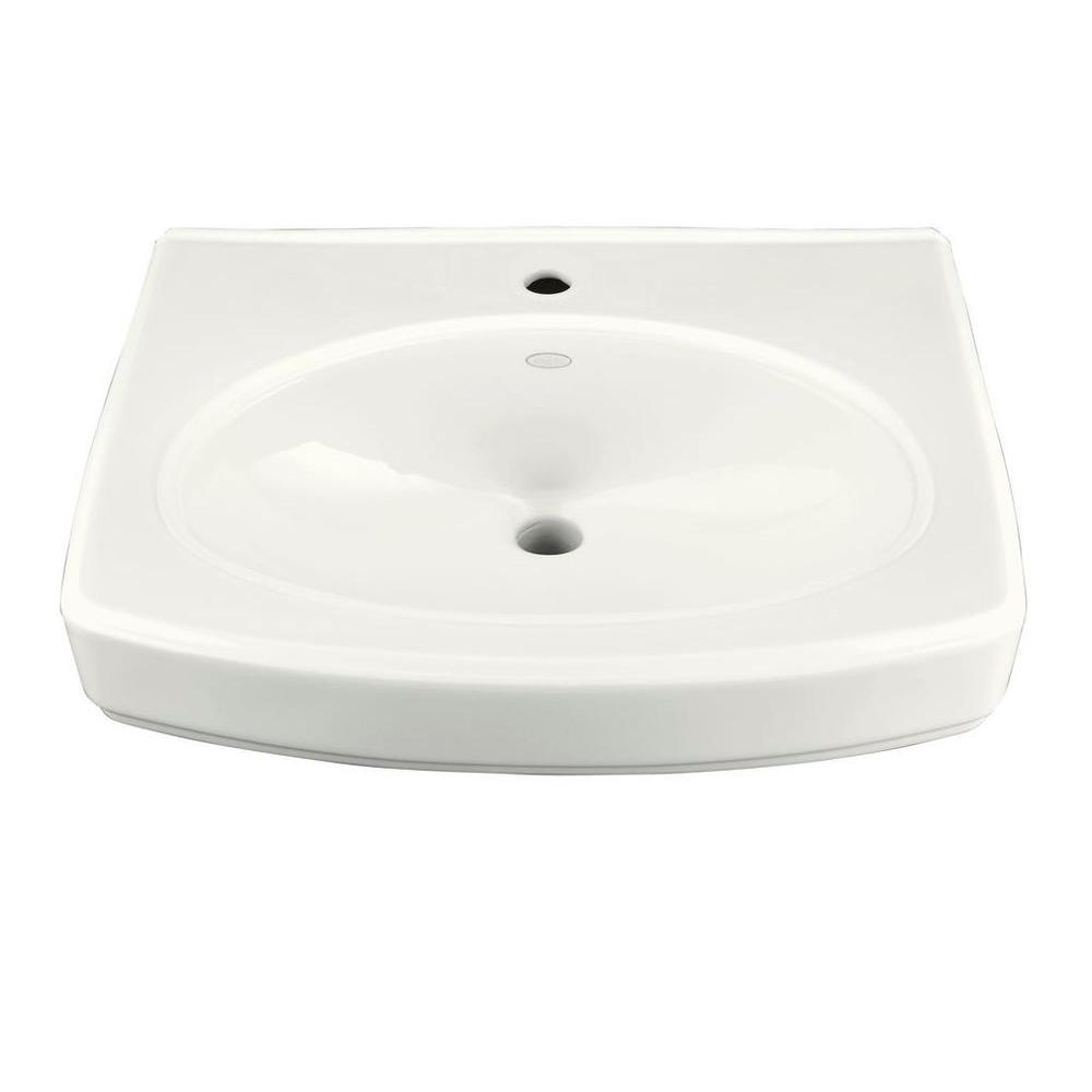 Pinoir Wall-Mount Vitreous China Sink Basin in White with Overflow Drain