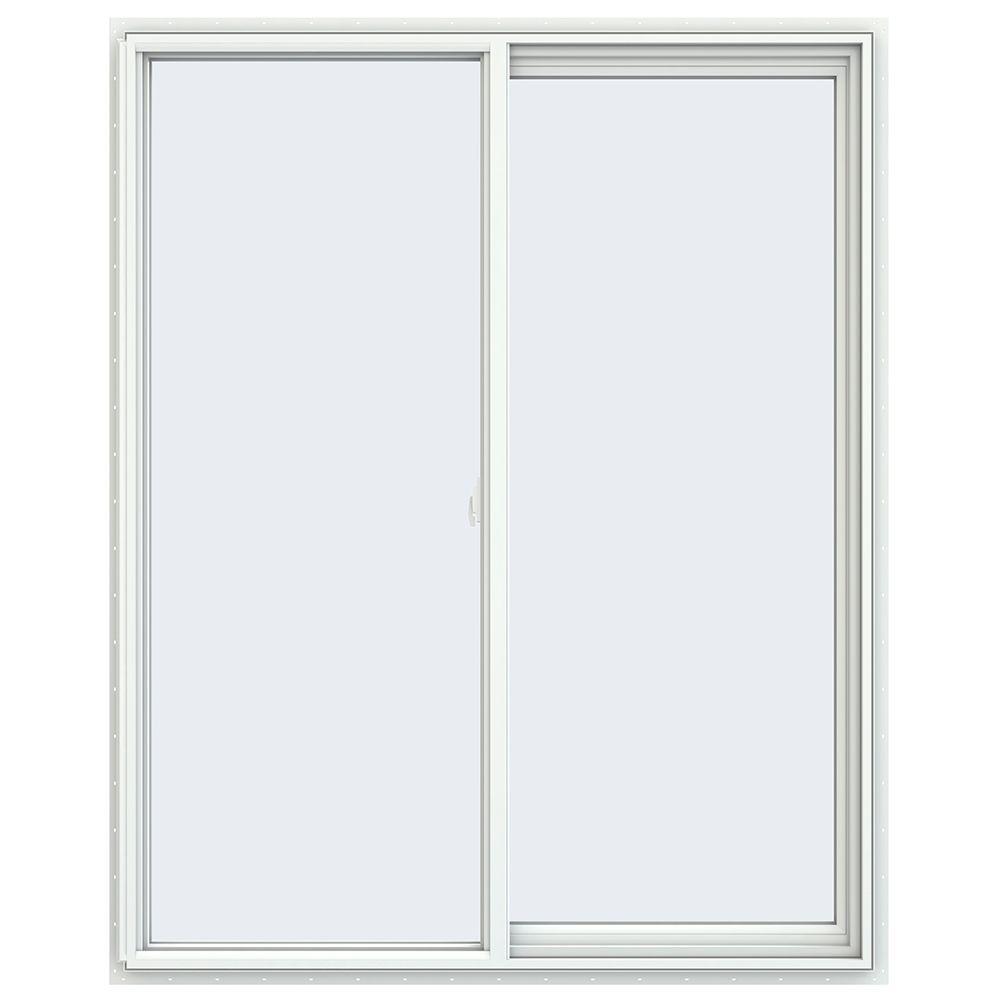 47.5 in. x 59.5 in. V-2500 Series White Vinyl Right-Handed Sliding Window with Fiberglass Mesh Screen