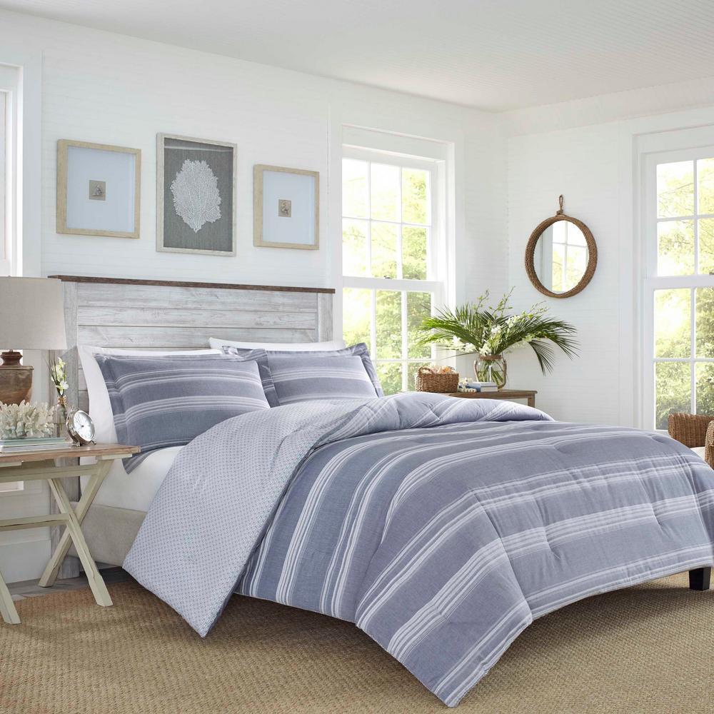 Comforter Set Full Size 3 Piece Navy Bedroom Linen Reversible Cotton 150 Count Comforters Bedding Sets Home Garden