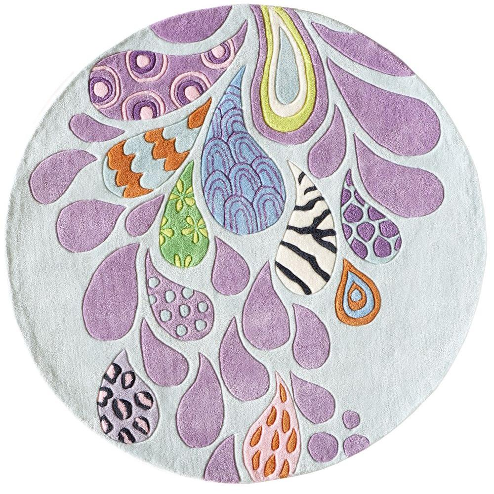 Funky Rainbow Colored Area Rugs: Momeni Young Buck Collection Funky 5 Ft. X 5 Ft. Round