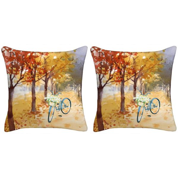 18 in. x 18 in. x 5 in. Bicycle Toss Pillows (Set of 2)