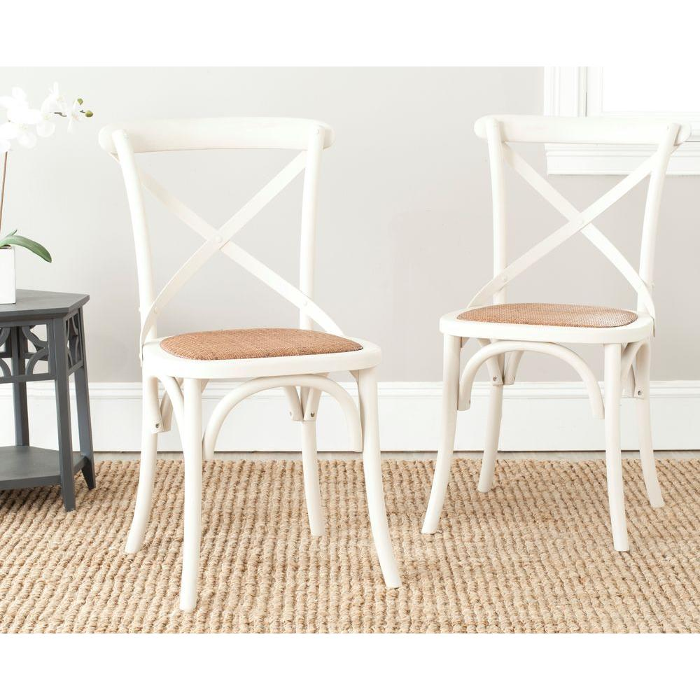 Safavieh Franklin Ivory Oak U0026 Rattan X Back Dining Chair (Set Of ...