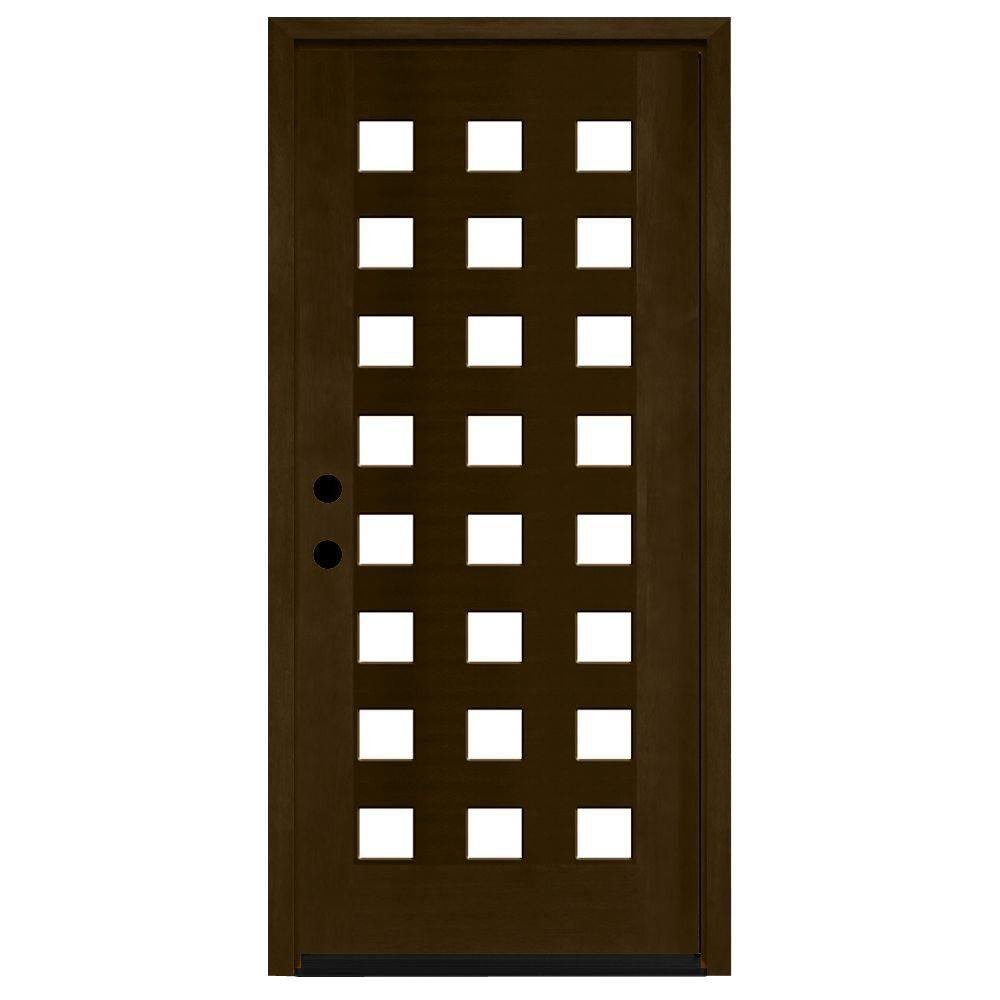 Steves & Sons 36 in. x 80 in. Modern 24 Lite Obscure Stained Mahogany Wood Prehung Front Door