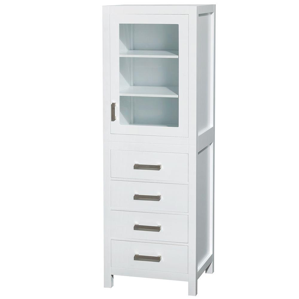 wyndham collection sheffield 24 in w x 71 14 in h - Bathroom Linen Cabinets