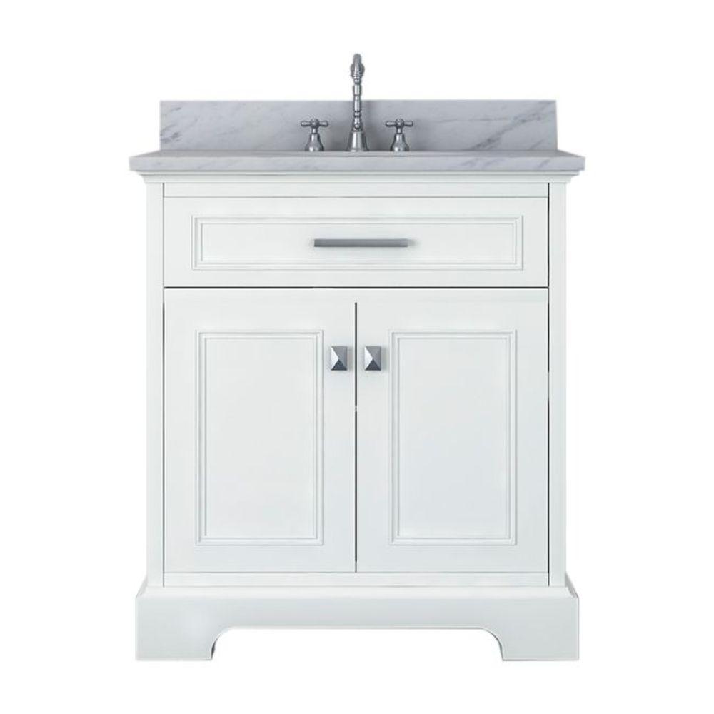 Yorkshire 31 in. W x 22 in. D Bath Vanity in White with Marble Vanity Top in White with White Basin