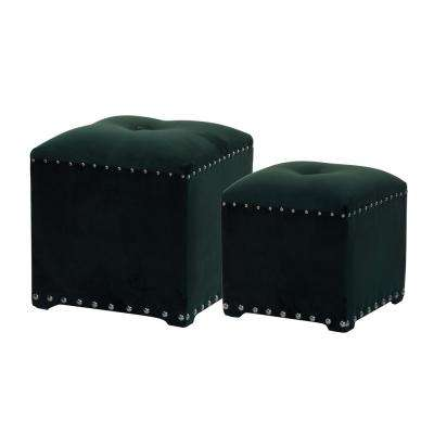 Green Upholstered Stools (Set of 2)