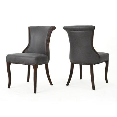 Lexia Slate Grey Wood Upholstered Dining Chair (Set of 2)