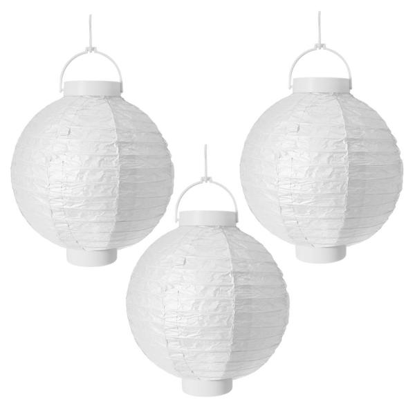 Battery Operated Paper Lantern in White (3-Count)