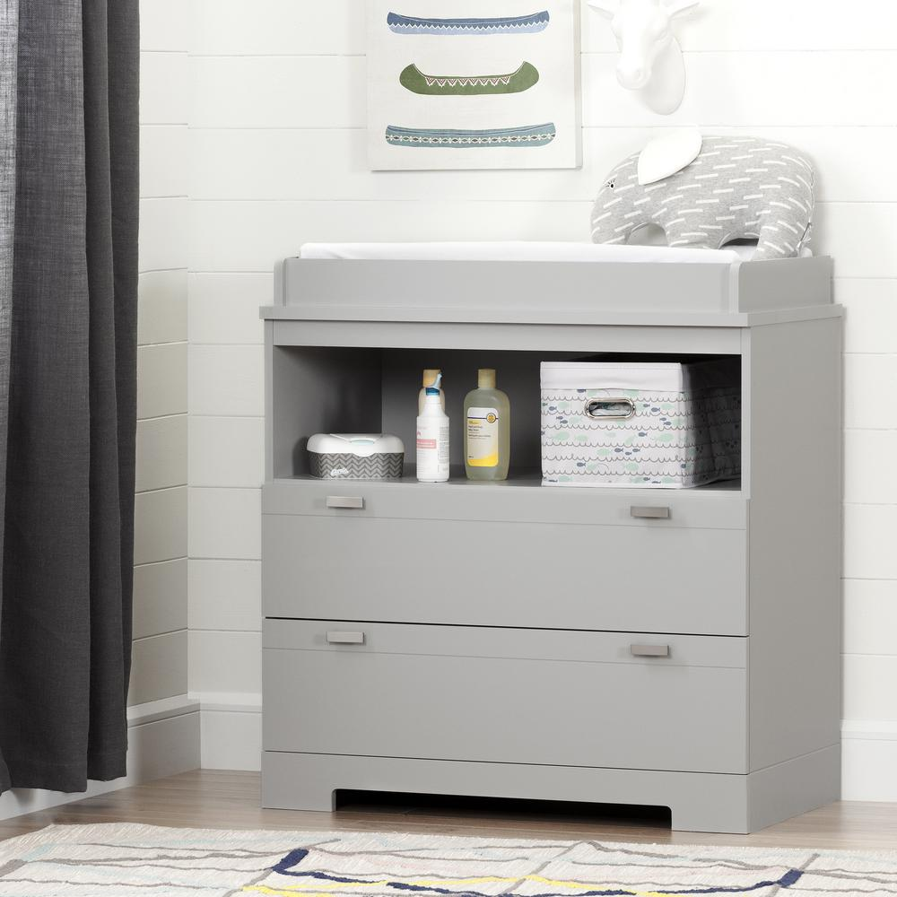 South S Reevo 2 Drawer Soft Gray Changing Table