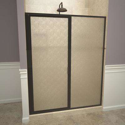 1100 Series 59 in. W x 72-1/8 in. H Framed Swing Shower Door in Oil Rubbed Bronze with Pull Handle and Obscure Glass