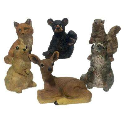 6 in. Wild Animal Critter Assortment (Fox, Raccoon, Bear, Deer, Squirrel, Rabbit) Statues (6-Piece)