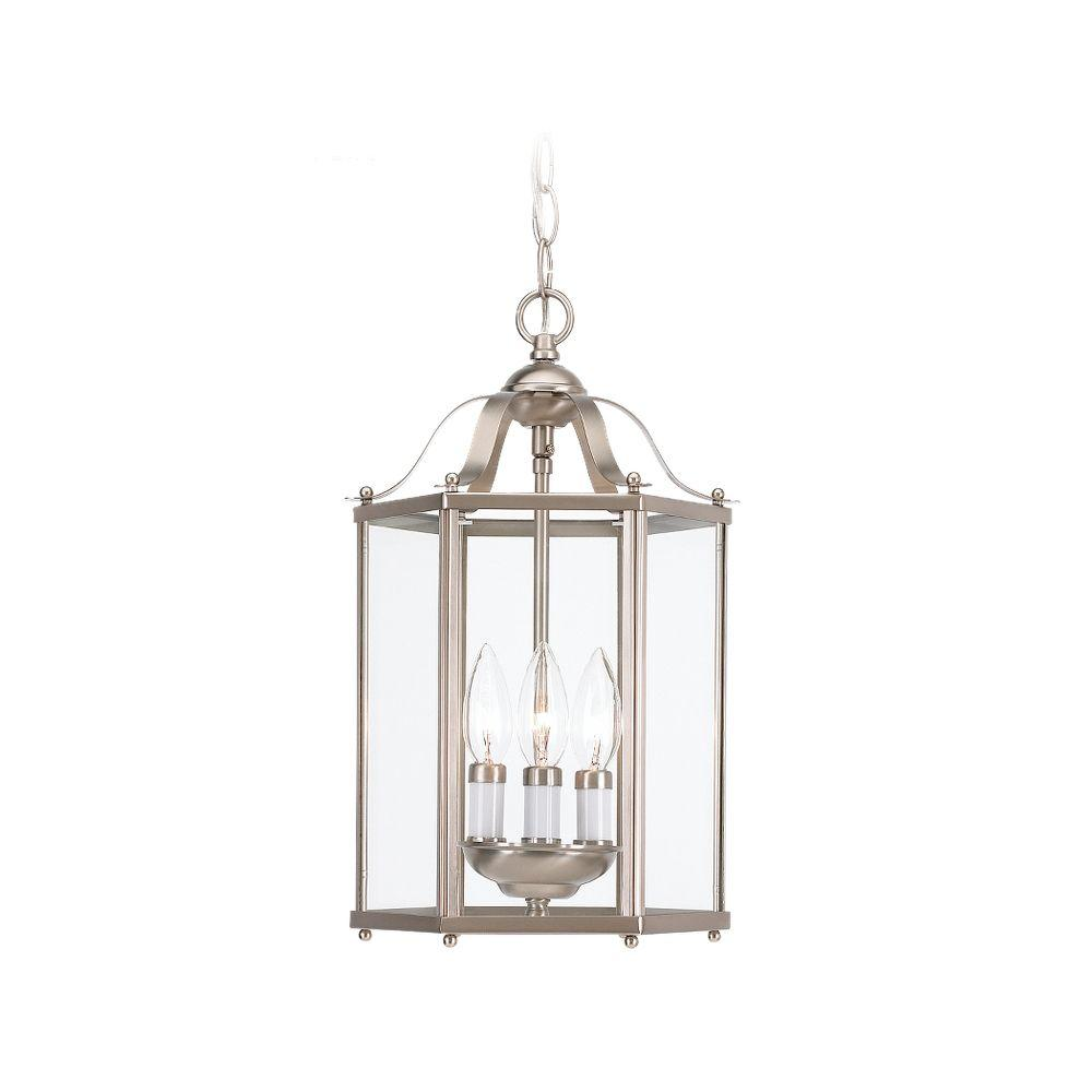 pendant lantern lighting. bretton 3-light brushed nickel semi-flush mount light pendant lantern lighting 1