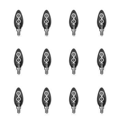 25-Watt Equivalent B10 Dimmable Candelabra Smoke Glass Vintage LED Light Bulb with Spiral Filament Daylight (12-Pack)