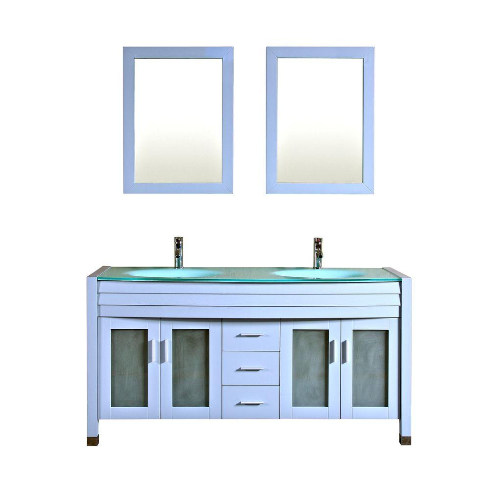 Kokols Double Vanity Blue Grey Glass Vanity Top Aqua Mirror