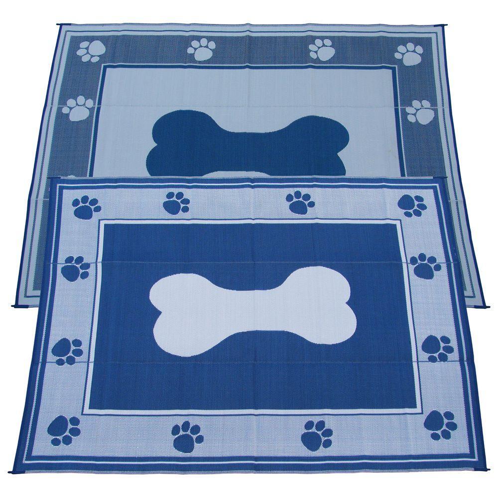 Wonderful Fireside Patio Mats Doggy Blue 9 Ft. X 12 Ft. Polypropylene Indoor/Outdoor