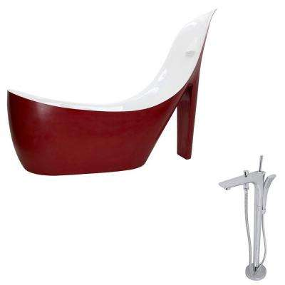 Gala 6.7 ft. Acrylic Slipper Freestanding Flatbottom Non-Whirlpool Bathtub in Red and Kase Faucet in Chrome