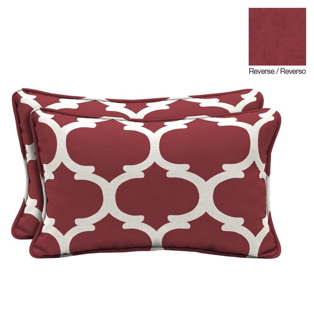Hampton Bay Frida Trellis Lumbar Outdoor Throw Pillow 2 Pack