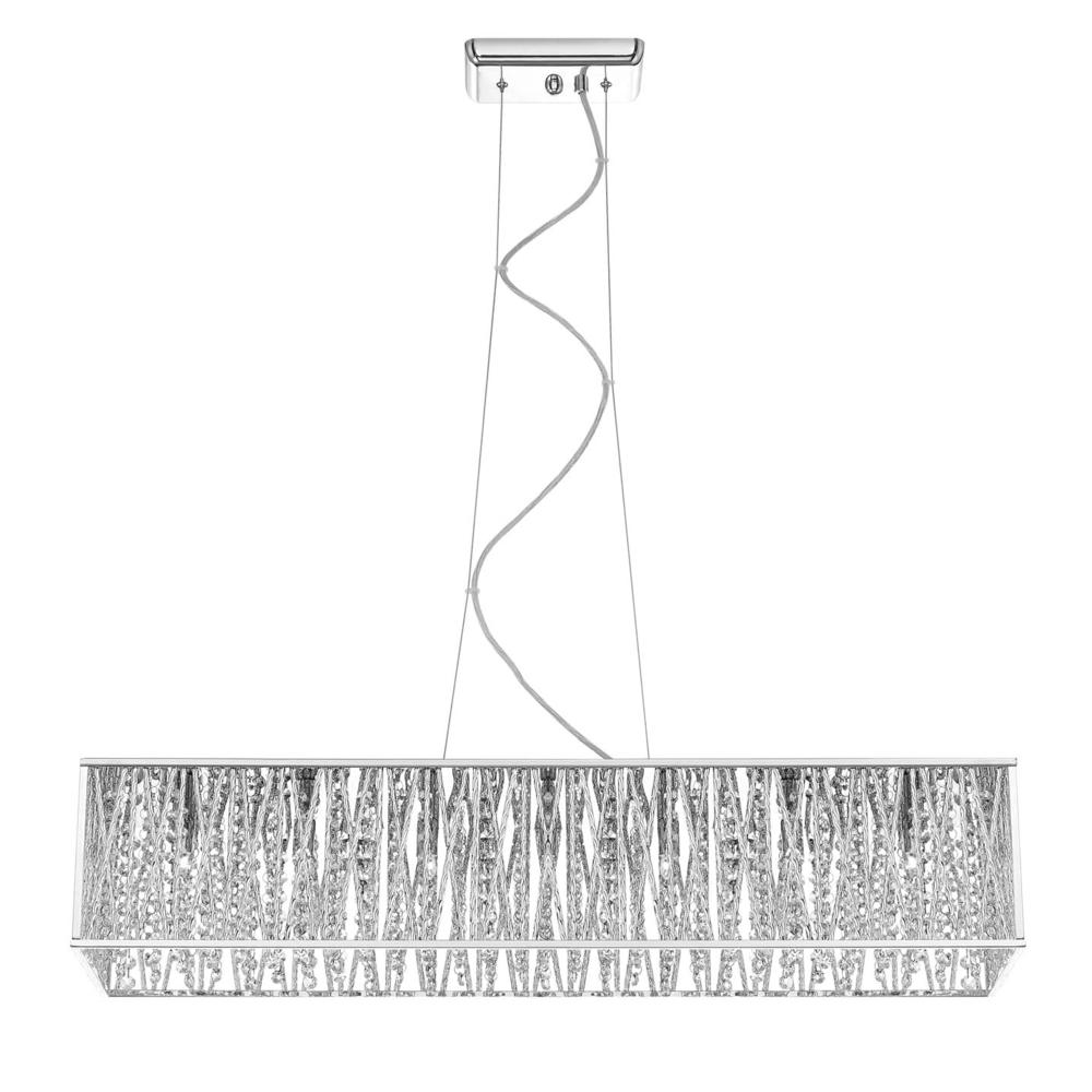 Charming 7 Light Chrome Pendant With Woven Laser Cut Crystal Rectangular Shade