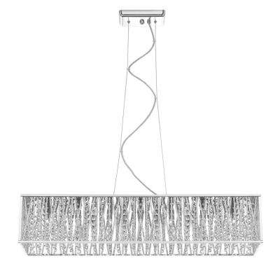 7-Light Chrome Pendant with Woven Laser Cut Crystal Rectangular Shade