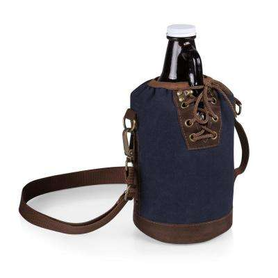 Navy and Brown Insulated Growler Tote with 64 oz. Amber Glass Growler