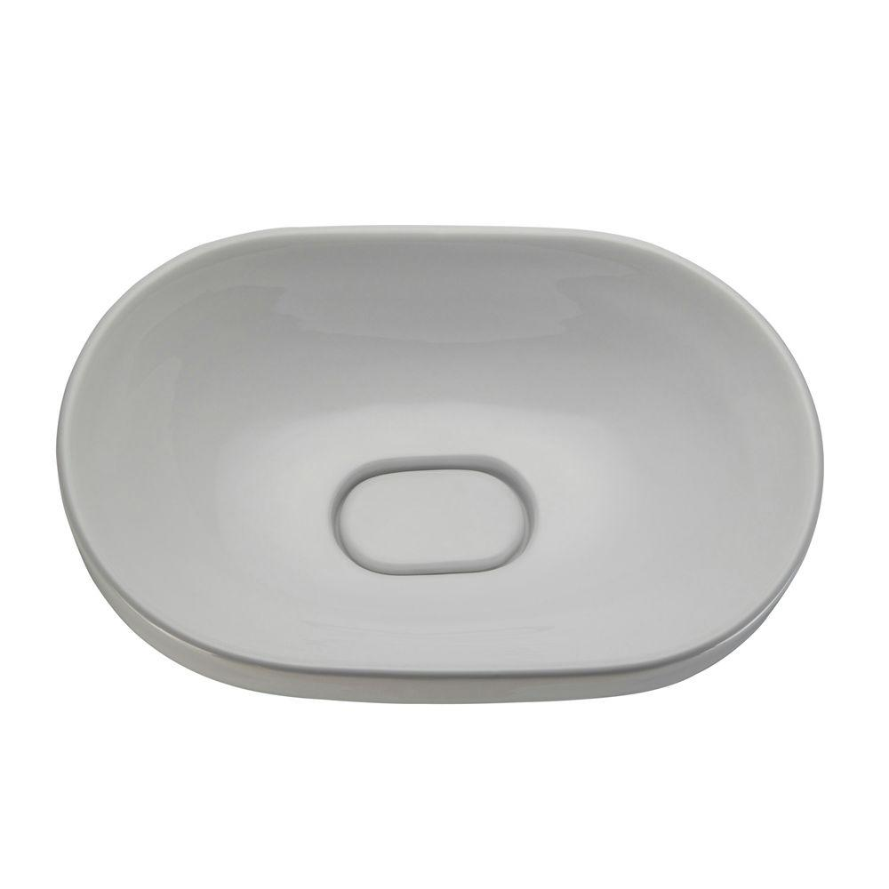 DECOLAV Classically Redefined Semi Recessed Oval Bathroom Sink in White