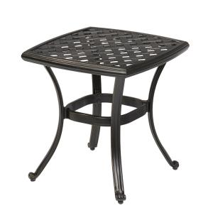 hampton bay belcourt metal square outdoor side table d11334 ts the home depot. Black Bedroom Furniture Sets. Home Design Ideas